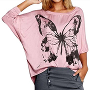 Women Butterfly Print Batwing Sleeve Hoodie Loose T Shirt